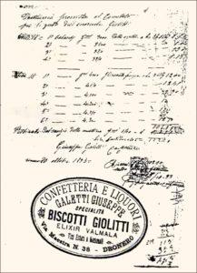 Fattura indirizzata a Giovanni Giolitti, per la fornitura di biscotti.